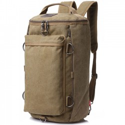 Retro Multifunction Gym Shoulder Bag Canvas Camping Backpack Men Large Bucket Travel Outdoor Rucksack