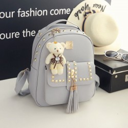 Cool PU Girl's Metal Rivets Student Backpack Gift Bear Doll Tassel School Backpack