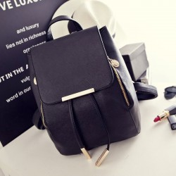 Sweet Funky Lady Solid Simple Square PU Drawstring Hasp Satchel Leisure Backpacks