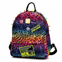Fashion Rivet Lovers Fluorescent Leopard  College Backpack