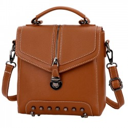 Unique PU Multi-function Shoulder Bag Ladies Rivet Small Backpack