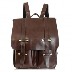 Retro Double Pocket Backpack Solid Color College Bag
