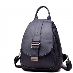 Elegant Small Single Button Multifunction Shoulder Bag Pu Mini Girl's Backpack
