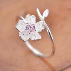 Creative Pink Crystal Frosted Cherry Vivid Flower Branch Open Ring