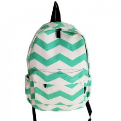 Leisure Mint Green Stripe Weave Canvas Large Laptop School Backpack