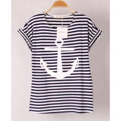 Fashion Anchors Bear Casual Short Sleeved Striped T-shirt