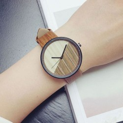 Simple Circular Dial Wood Grain Strap Chic Retro Waterproof Girl's Quartz Watch