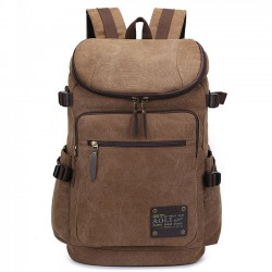Retro Zipper Men's Canvas Travel Backpack Large Capacity Camping Bag School Laptop Backpack