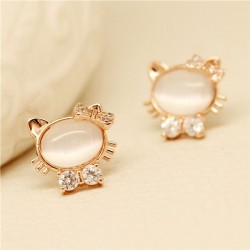 Lovely Jewelry Opal Lovely Kitten Diamond Earrings