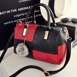 Double Color Grid Pillow Bag Wool Ball Shoulder Bag