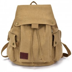 Leisure Simple School Rucksack Brown Retro Student Travel Canvas Backpack