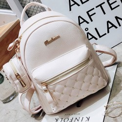 Mini Black White Lady Bag Snap Rivets Mesh Lingge PU Backpack