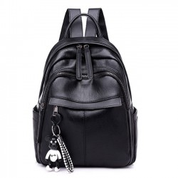 Leisure Waterproof Black PU Nylon School Bag Student Backpack