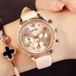 Elegant Shining Flowing Diamond Roman Numerals Dial Quartz Women Watch