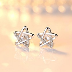 Cute Zircon Star Hollow Women Shining Star Silver Earring Studs