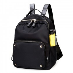 Fashion Black Rose Simple Nylon Splicing PU Rivets Waterproof School Backpack