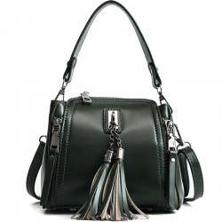 Retro Tassel Simple Glossy Fringed Handbag Lady Small Shoulder Bag