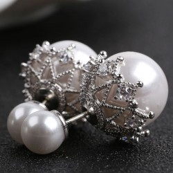 Fashion Pearl Amphibious Shining Hollow Diamond-bordered Women's Earring Studs