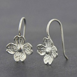 Unique Handmade Silver Flowers Hook Lady's Hook Leisure Women's Earrings Studs