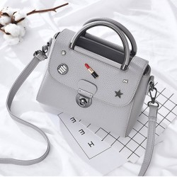 Unique Button PU Leather Handbag Multi-function Women Summer Tote Shoulder Bag