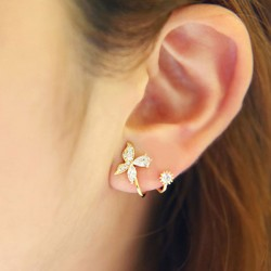 Sweet 925 Silver Diamond Butterfly Spiral Flower Earrings Studs