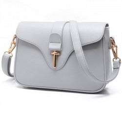 Fashion Simple OL Style Metal Lock Flap Girl's PU Shoulder Bag