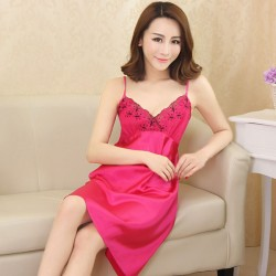 Sexy Lace Woman Silk Pajamas Gallus Dress