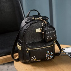 Causal Mini Soft PU Embroidery Rivet Black White Flower School Backpack