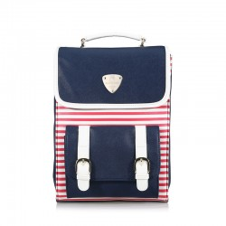Navy Stripe Mixed Color Square School Bag Travel Backpack