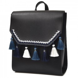 Cute Square PU Embroidery Tassels Flap Lady School Backpack