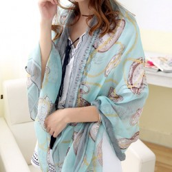 Women Clock Shawl Scarf Dual Beach Towel Sunscreen Scarf