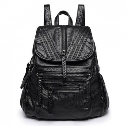 Leisure Washed British Style Black Weave PU Soft Leather Backpack