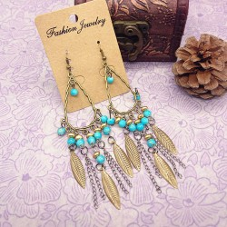 Bohemian Folk Bronze Leaves Chain Tassel Beaded Earrings