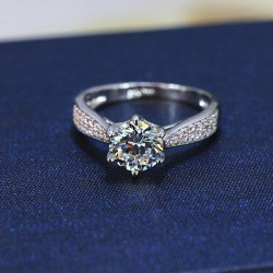 Elegant Silver Classic Diamond Wedding Zircon Jewelry Ring