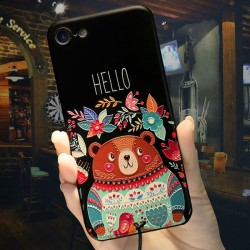 Cartoon Embossed Bear Hello Flowers Iphone 6/6s/6 plus/6s plus/7/7 plus Case Cute Iphone Cover