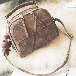 Retro Lines Separated Geometric Pattern PU Fashion Double Zippers Handbag Shoulder Bag