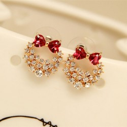 Stylish Silver Needle Lolita Crystal Bow Shiny Anadem Diamond Earrings Studs