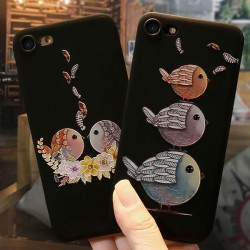 Cartoon Embossed Lovely Couple Birds Iphone 6/6s/6 plus/6s plus/7/7plus/8/8 plus Iphone Case Iphone Cover