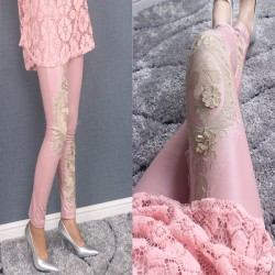 Lace Splicing Matte Fuax Leather Fall and Winter Cotton Velvet Ninth Fashion Girl's Gold Thread Embroidery Leggings