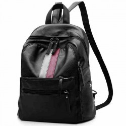 Unique Red Green Stripe Blocking Large Capacity College Backpack PU Black Girl's Travel Backpack