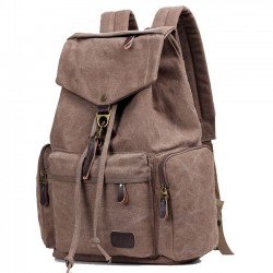 Retro Flap Metal Lock Large Capacity Backpack Travel Backpack Canvas Men's School Rucksack
