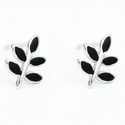 Sweet Leaves Retro Mini Silver Girl's Earring Studs Cute Spring Simple Black Leaf Earrings