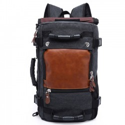 Retro Large Outdoor Cylindrical Drum Travel Multi-function Shoulder Bag Canvas Backpack
