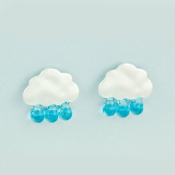 Original 925 Silver Needle Lovely Droplets Clouds Glass Earrings