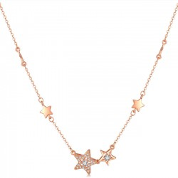 Romantic Double Star Flash Pendant Clavicle Rhinestone Women Necklace