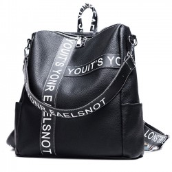 Unique Contrast Color Girl's Square Large Multi-function Shoulder Bag Letters Black White School Backpack