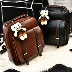 Retro Zipper Flap Splicing Belt Metal Lock Brown Bag Black Square PU School Backpack
