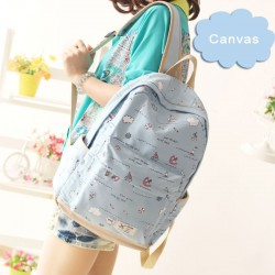 Fresh Anchor College Rucksack Ocean Boat High School Canvas Backpack