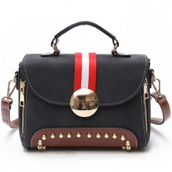 Leisure Contrast Color Blocking Flap Frosted Rivets Handbag PU Shoulder Bag
