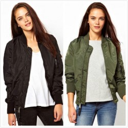 Bomber Jacket Biker Outwear Basic Jacket  Winter Coat